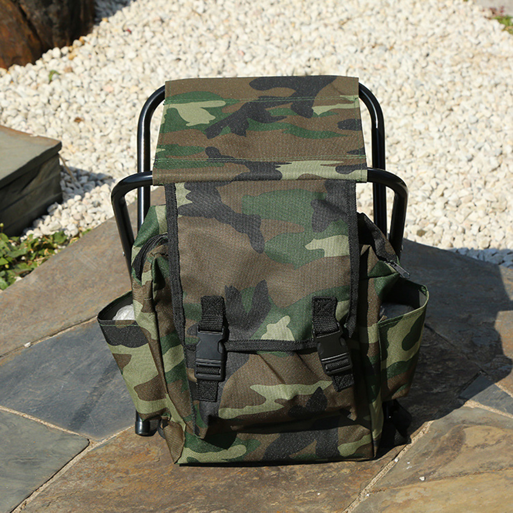 Folding Camping Fishing Chair Backpack Fishing Stool Backpack With Picnic Bag For Outdoor Hiking Seat Bag 600D Oxford Cloth