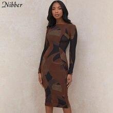 Nibber – robes mi-longues pour femmes, col rond, imprimé Patchwork, moulantes, Streetwear, soirée, manches longues, printemps, 2021