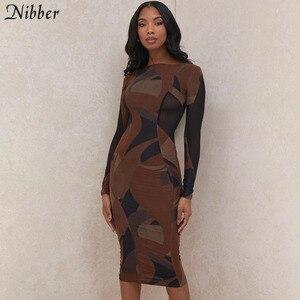 Nibber Basic Round Neck Patchwork drukowanie sukienki Midi typu Bodycon dla kobiet 2021 wiosnny Streetwear nocna impreza sukienki z długim rękawem