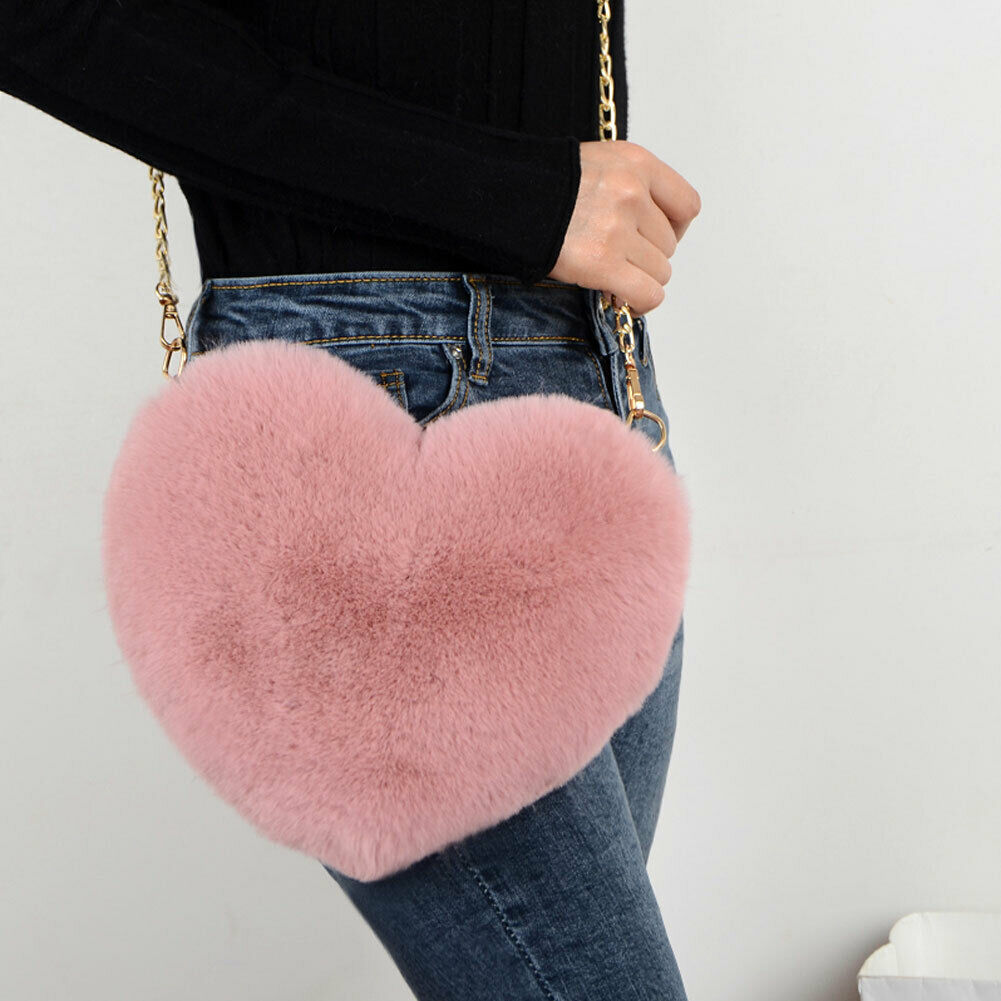 Hot Sale Women's Plush Love Hairy Bag Heart Shaped Valentine Day Gift Heart-shaped Bag HOT Female Chain Messenger Bag Gifts