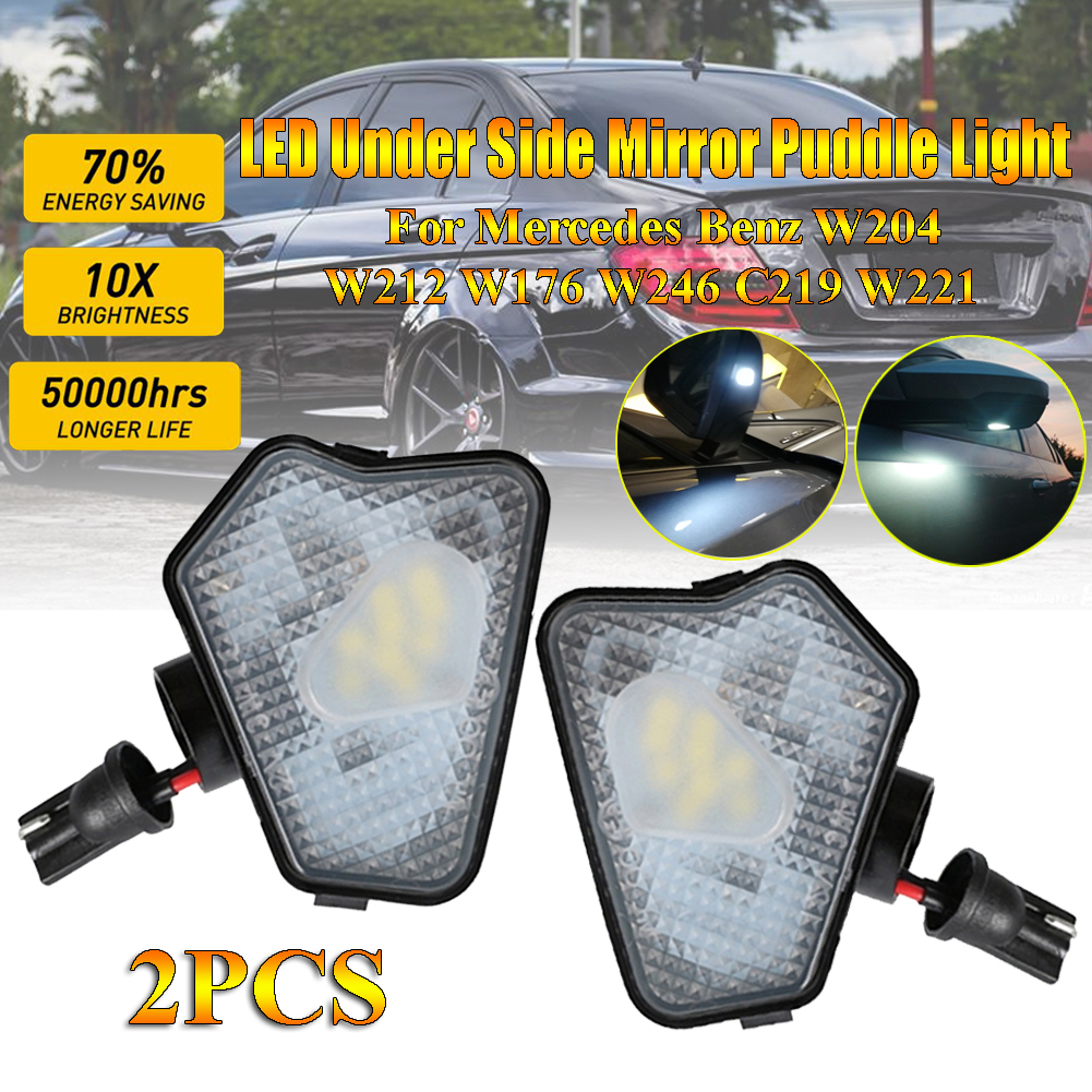 2x High Power Xenon White LED Under Side Mirror Puddle <font><b>Light</b></font> Lamp Assembly for Mercedes <font><b>Benz</b></font> W204 W212 W176 W246 C219 <font><b>W221</b></font> ACES image