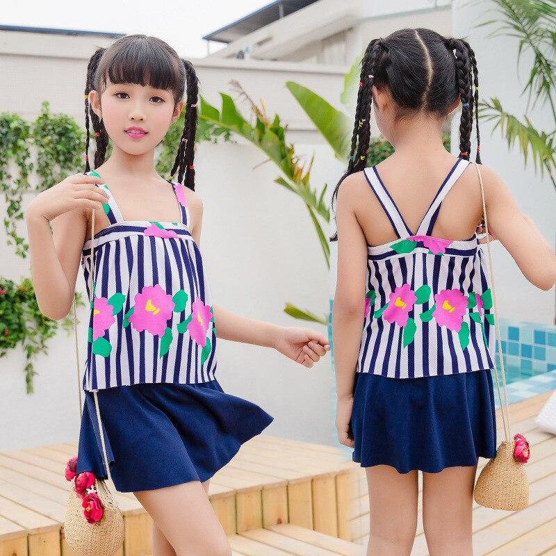 Girls Split Swimsuit Cute Skirt Big Boy Boxer Striped Printed Children's Swimwear Nt109805