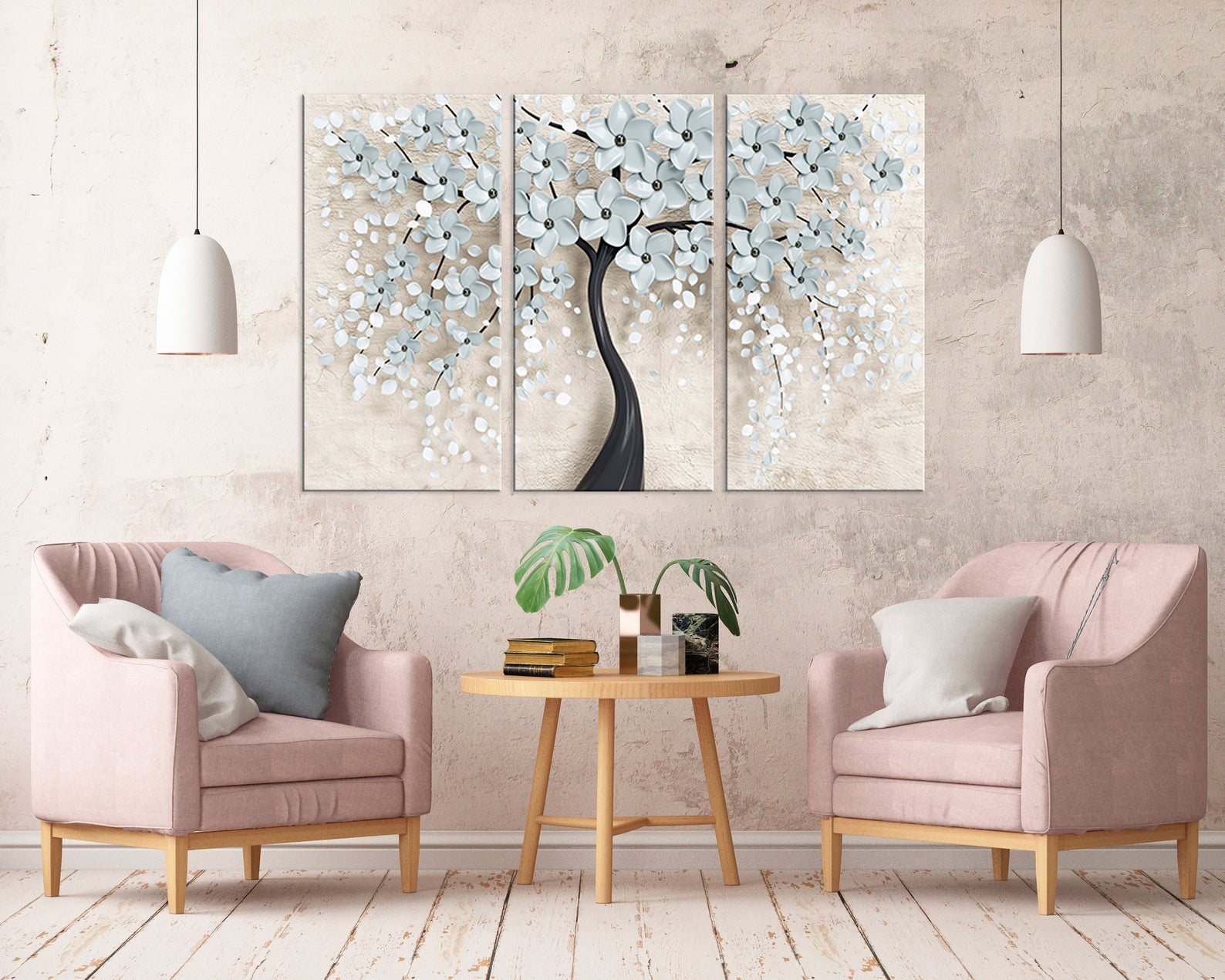 Home Decor 32 Set Hd Prints White Cherry Blossom Tree Poster Picture Wall  Artwork Modular Canvas Painting For Living Room Framed