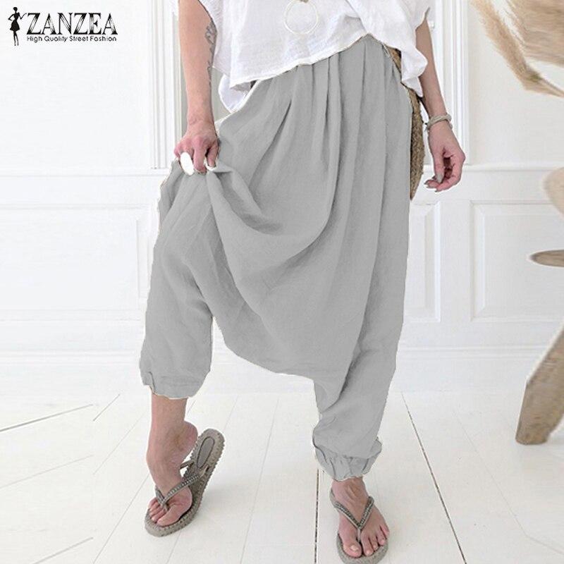 2019 Women Drop Crotch Pants ZANZEA Autumn Casual Harem Pantalon Vintage Solid Elastic Waist Cotton Long Palazzo Trousers Femme