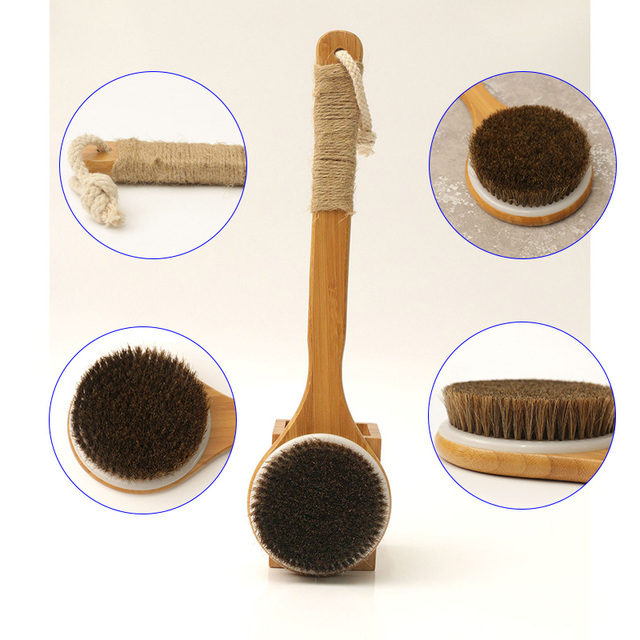 2019 Hot Shower Brush With Long Bamboo Wood Handle Back Scrubber Spa Exfoliator Bath Body Massage Brushes wyt77 4