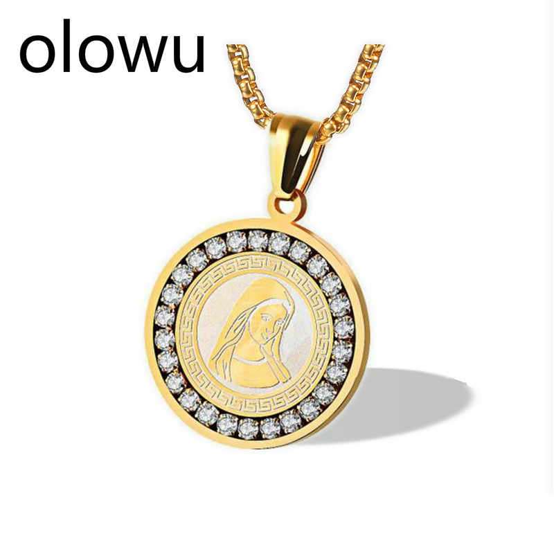 olowu Women Men Mama Mary Bless Neckalces Gold Stainless Steel CZ Necklaces & Pendants Religious Jewelry