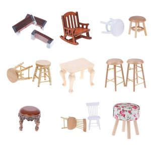 New Simulation Mini Sofa Stool Chair Furniture Model Toys for Doll House Decoration 1/12 Dollhouse Miniature Accessories