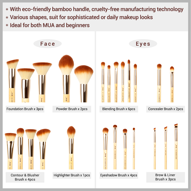 Jessup Makeup Brushes Set Bamboo Foundation Powder Eyeliner Bronzer Sculpting brush pincel maquiagem Professional Cosmetic Tool 4
