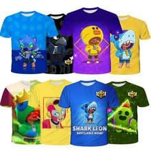 Personagem do jogo estrelas tshirt crianças leon spike crow roupas 3d casual browl camisa topos t roupas traje menino menina