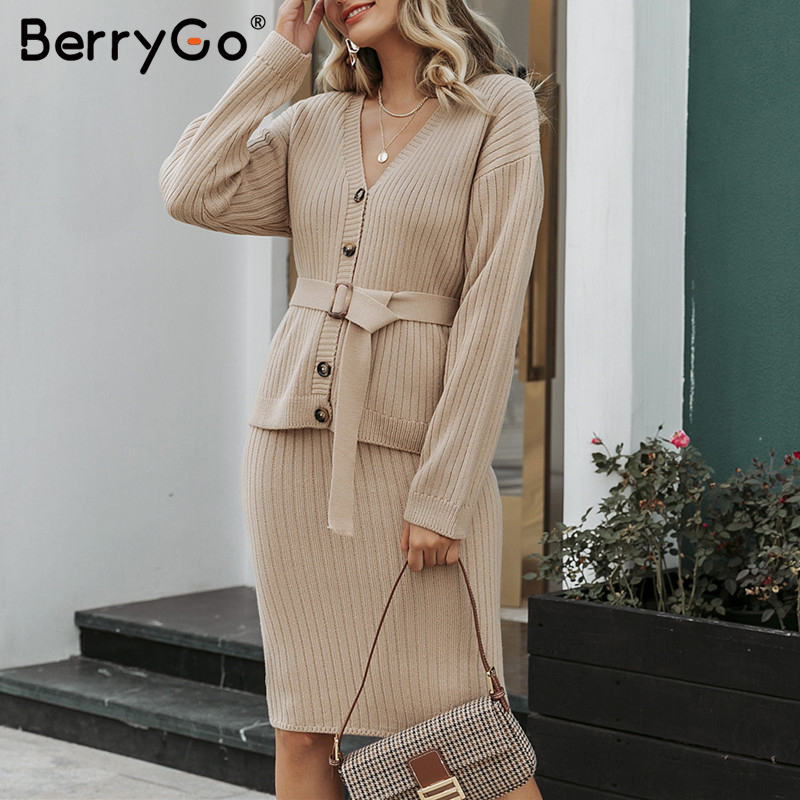 Image 5 - BerryGo Two piece women knitted dress set Elegant autumn winter  sweater dress suits Long sleeve button sashes pure skirt suitDresses