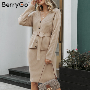 Image 5 - BerryGo Two piece women knitted dress set Elegant autumn winter sweater dress suits Long sleeve button sashes pure skirt suit