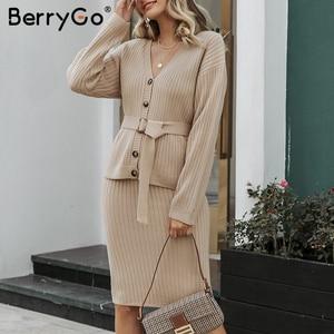 Image 5 - BerryGo deux pièces femmes tricoté robe ensemble élégant automne hiver robe pull costumes manches longues bouton ceintures pure jupe costume