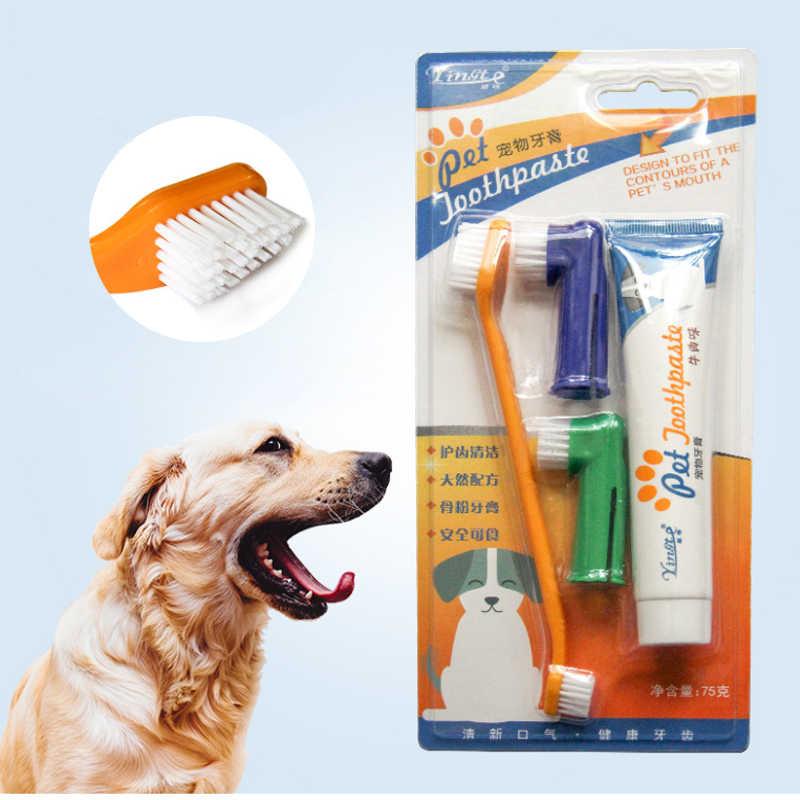 애완 동물 치약 강아지 치약 칫솔 세트 중간 대형 개 구강 청소 용품 4 피스 고양이 개 세트