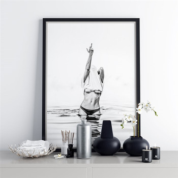 Modern Fashion Black White Poster Sexy Middle Finger Feminist Canvas Painting Wall Art Nude Woman Pictures Living Room Decor 2