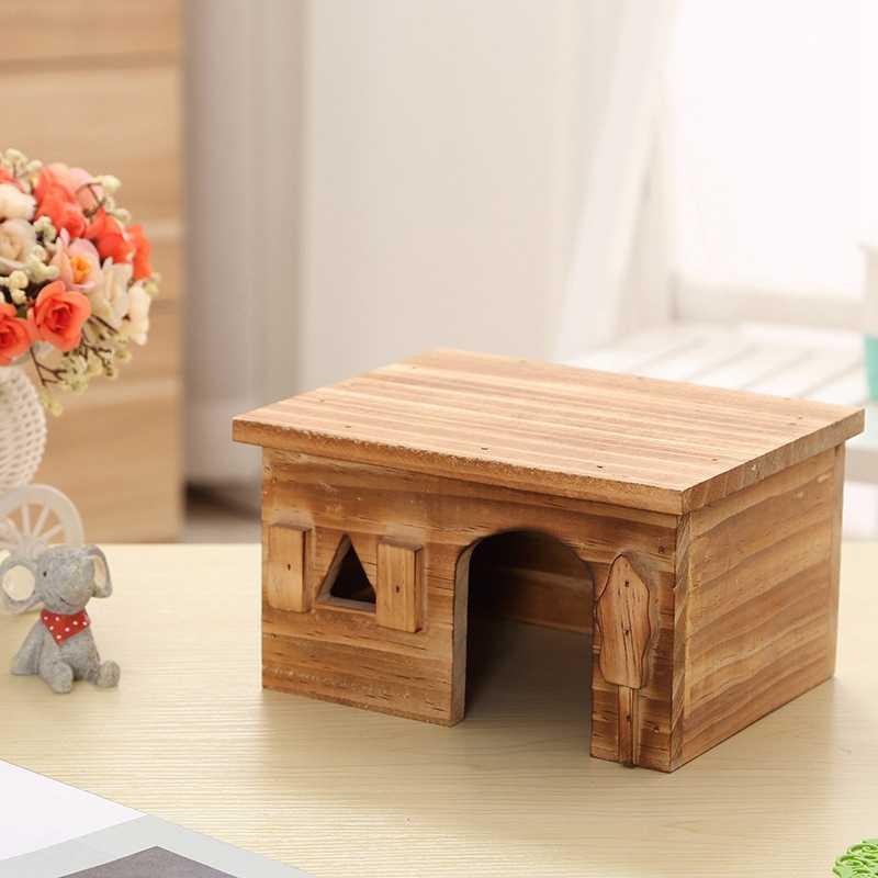 New Natural Wood Rectangle Small Animal Pet Hamster House Bed Summer Cool Guinea Pig Hedgehog Chinchilla House Cage Nest Hamster