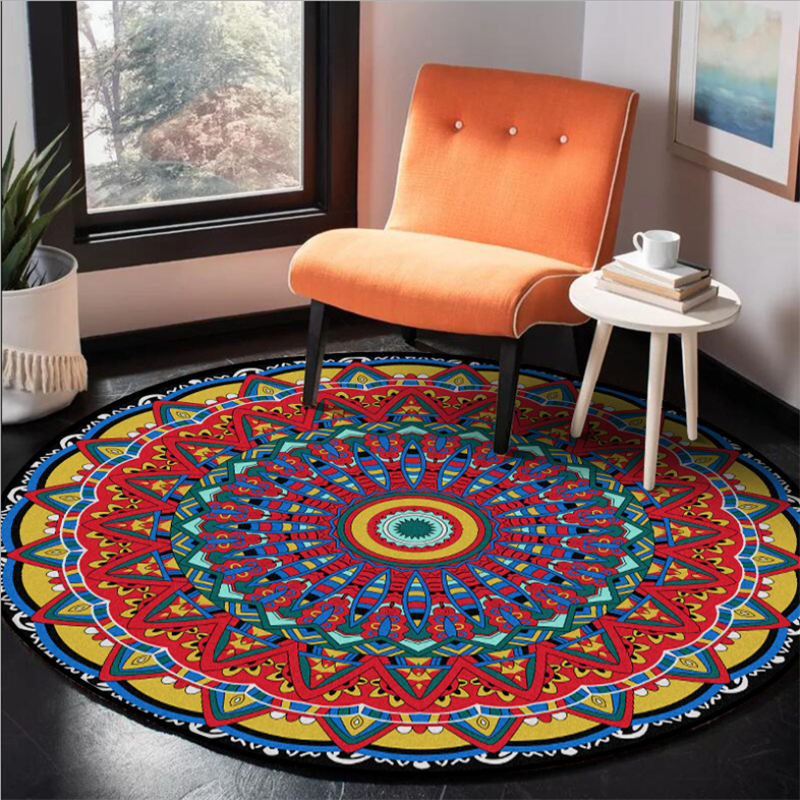 Carpets For Living Room Color Mandala Flower Pattern Round Carpet Rugs For Children Rooms Mechanical Wash 100% Polyester