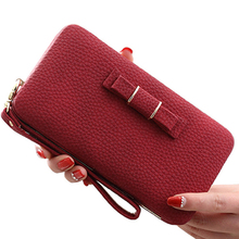 womens wallets and purses Fashion Multifunctional Litchi Texture Buckle PU Ladies Handbag Bow Wallet (Red)
