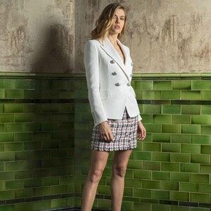 Image 3 - HarleyFashion veste européenne Slim pour fitness, boutons en métal doré, blanc, noir, kaki, vêtement pour femme, décontracté