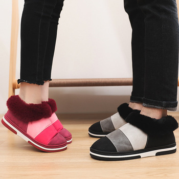 Winter Slippers Women Home Stripe Soft Female Warm  Flock Plush Bedroom Ladies Flat Shoes Slides Couples House - discount item  56% OFF Women's Shoes