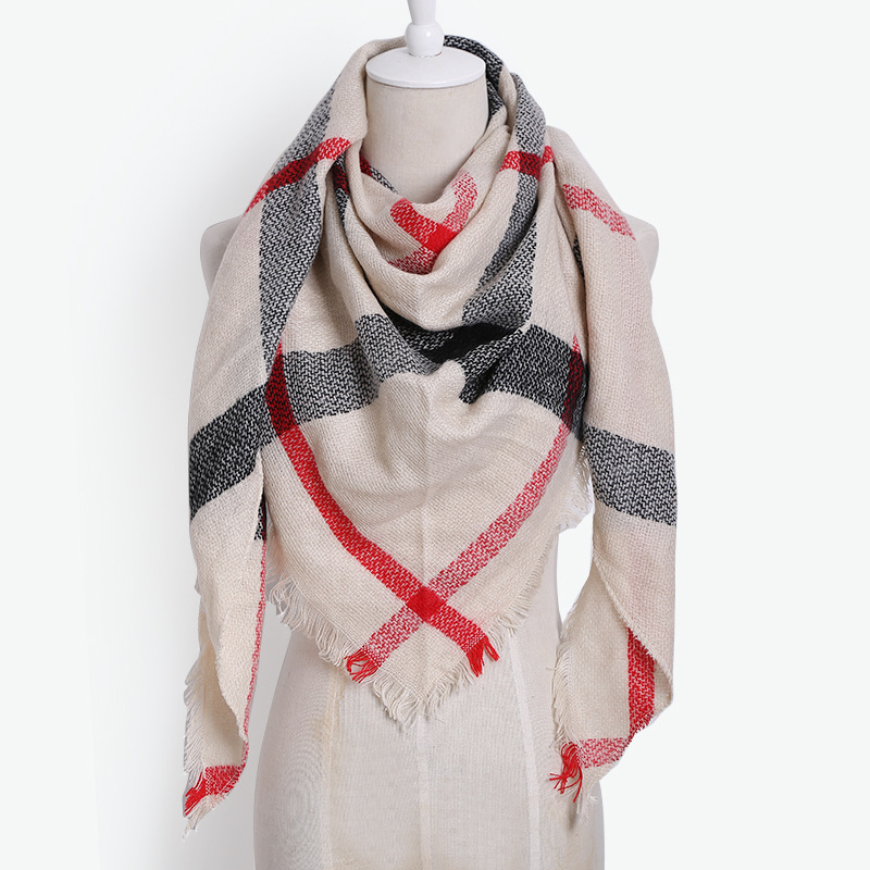 New Style Triangular Binder Faux Cashmere Warm Scarf Air Conditioner Shawl Men And Women Fashion Plaid Elegant Scarf