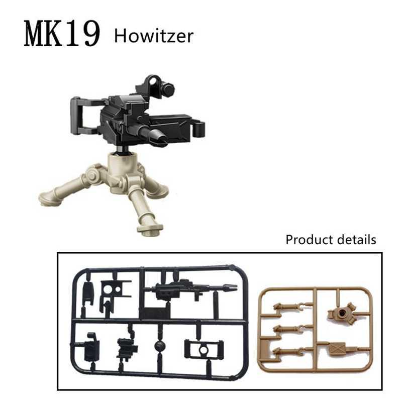 Pojedyncze wojskowe SWAT figurki policja tarcza niemiecki żołnierz pistolety broń cegły Model klocków budowlanych DIY zabawki dla dzieci prezenty