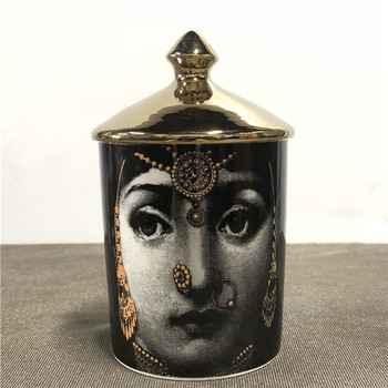 Lady Face Candle Holder Human Face Jar Candelabra Retro Storage Bin Ceramic Cafts Home Decoration Jewerlly Storage Box 21
