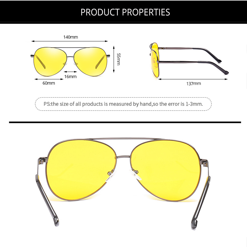Pro Acme Classic Pilot Night Vision Glasses Driving Yellow Lens Vision Driver Glasses For Men CC0101 6