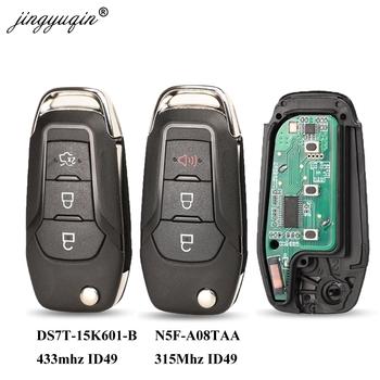Jingyuqin Flip Remote Key Fob 3 przyciski 315 433Mhz N5F-A08TAA ID49 dla Ford S-MAX GALAXY MONDEO Mk2 Mk7 Explorer Ranger tanie i dobre opinie CN (pochodzenie) Chip ID49 Key Remote Control ABS + Metal + Circuit board China For Ford N5F-A08TAA 5923667