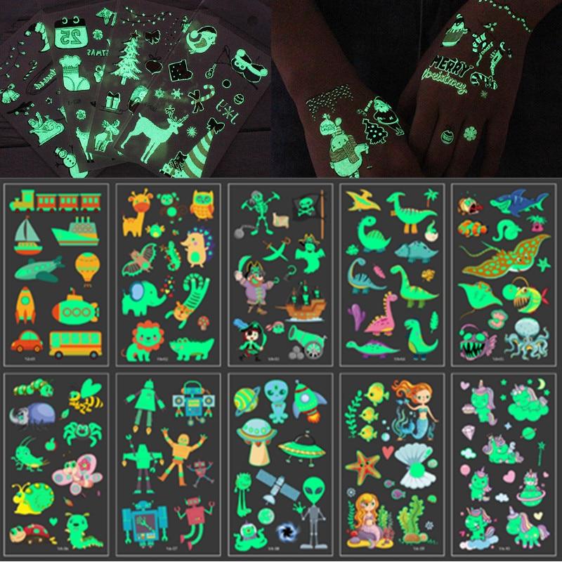 10 pçs/set Temporales Tatuajes Adesivos Luminosos para Crianças Temporária Falsa Tatuagem Brilham No Escuro Adesivos À Prova D Água Bonito Unicórnio