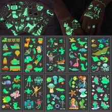 10 pçs/set Temporales Tatuajes Adesivos Luminosos para Crianças Temporária Falsa Tatuagem Brilham No Escuro Adesivos À Prova D' Água Bonito Unicórnio