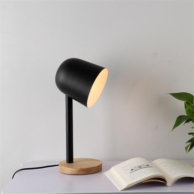 Mini Eenvoudige Ijzer Hout Tafellamp Oog Beschermen Bureaulamp Lampara De Mesa - 2