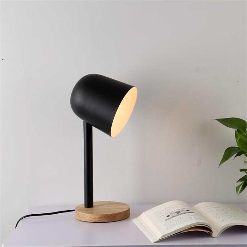 Mini ferro simples candeeiro de mesa de madeira olho proteger lâmpada de mesa lampara de mesa - 2