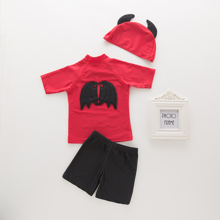 Men's Two-piece Swimsuits Red Devil-KID'S Swimwear Hot Springs Clothing