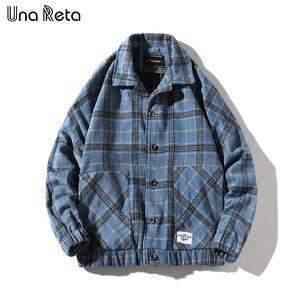 Image 2 - Мужская шерстяная клетчатая куртка Una Reta, повседневная винтажная однобортная куртка в стиле хип хоп, верхняя одежда на осень