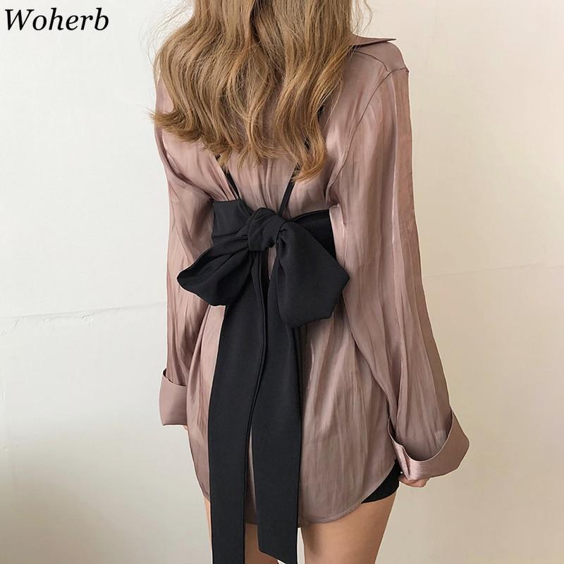 Woherb Korean Vintage Long Sleeve Blouse Women Casual Solid Shirt 2020 New Modis Spring Summer Tops Vest Bandage Blusas