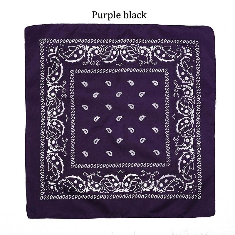55 см* 55 см, унисекс, черная бандана, модный головной убор, повязка на голову, шейный шарф, повязки на запястье, квадратные шарфы, платок с принтом, Прямая поставка - Цвет: Purple black