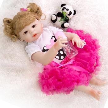 22 inch beautiful bebe reborn doll all silicone reborn boncas realistic vinyl bath toy boy girl Christmas gift toy with blonde