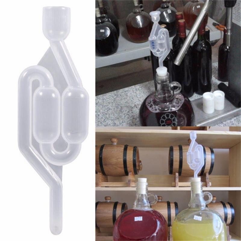 Di plastica In Casa Brew Vino di Sfiato Aria di Blocco di Scarico di Un-strada di Casa Vinificazione Fermentazione Airlock Valvola di Ritegno Acqua Sigillata Valvole