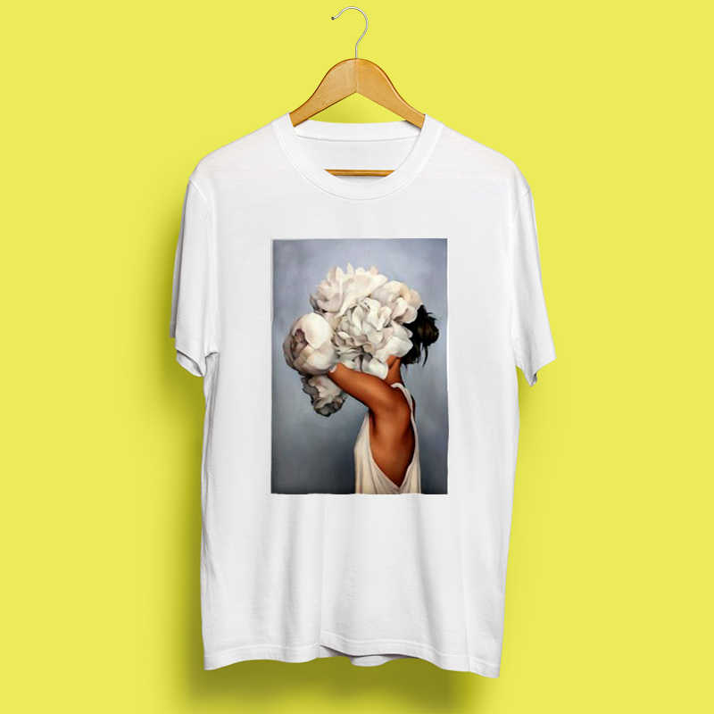 חדש כותנה Harajuku אסתטיקה Tshirt סקסי פרחי נוצת הדפסה קצר שרוול חולצות & Tees אופנה זוג מזדמן T חולצה