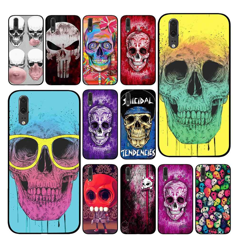 Colorful red tattoo skull Black Phone Case for Huawei P30 P20 Mate 10 20 Pro Lite Nova 3 4 3i Cover