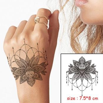 Temporary Waterproof tattoo sticker mandala flower necklace pattern hand back fake tatoo water transfer flash body art tatto 3