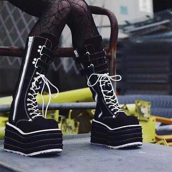 Punk jesień zima buty damskie elastyczne buty z mikrofibry kobieta botki wysokie obcasy czarne grube platformy długie kolana wysokie buty tanie i dobre opinie Dihope Kwadratowy obcas Jeździeckie Mikrofibra CN (pochodzenie) Na wiosnę jesień Do kolan Platforma Stałe fashion boots