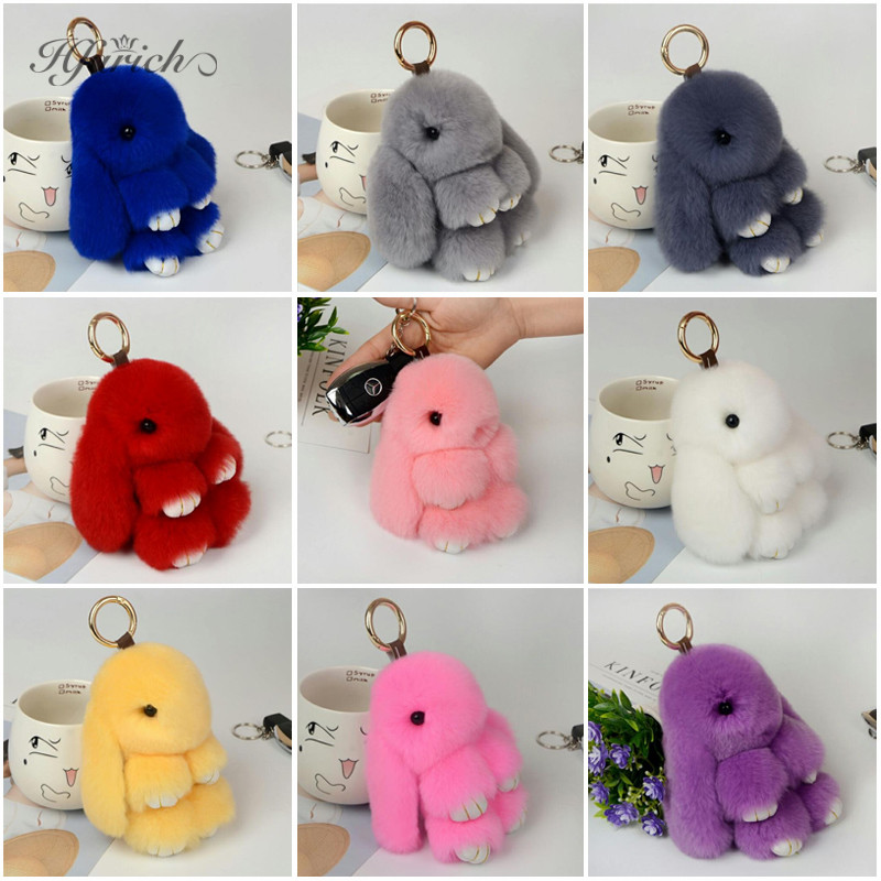 Hfarich Fashion Cute Bunny Rabbit Plush Toy Korean Style Car Keychain Backpack Decoration For Women Girls Birthday Jewelry Gift