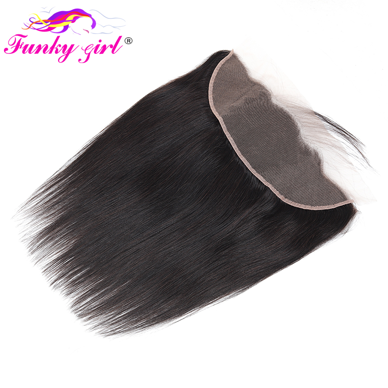 Hfbf3ffe24e634a2eb93dc1e6e9bbec50Y Funky Girl Malaysia Straight Ear To Ear Lace Frontal Closure With Bundles Human Hair Weave Non Remy Hair Extension 3/4 Bundles