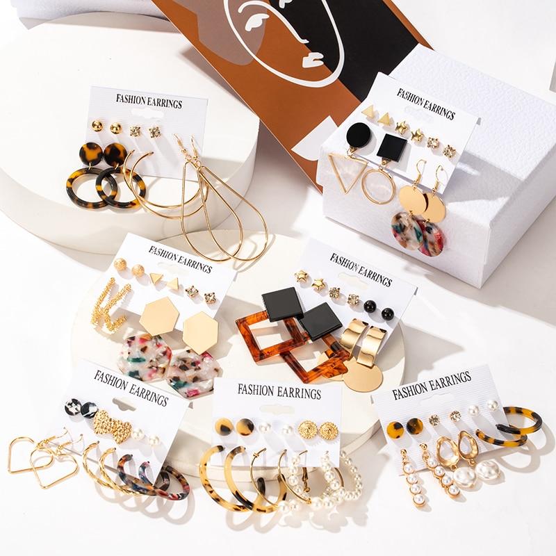 Fashion Pearl Women's Earrings Set For Women Geometirc Gold Metal Acrylic Crystal Stud Earring Brincos 2021 Trend Female Jewelry