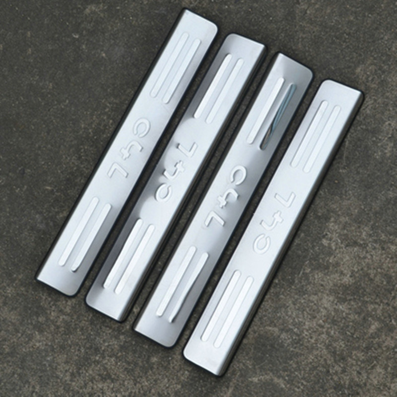 Car Styling stainless steel Scuff Plate Door Sill 4 pcs for <font><b>Citroen</b></font> <font><b>C4</b></font> C4L 2012 2013 2014 2015 <font><b>2016</b></font> image