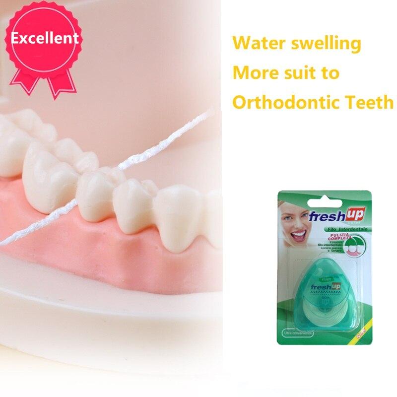 Высокое качество зубная нить мята Вощеная плоская нить расширяющаяся нить нейлон тонкие Зубы Чистая Ортодонтическая зубная нить