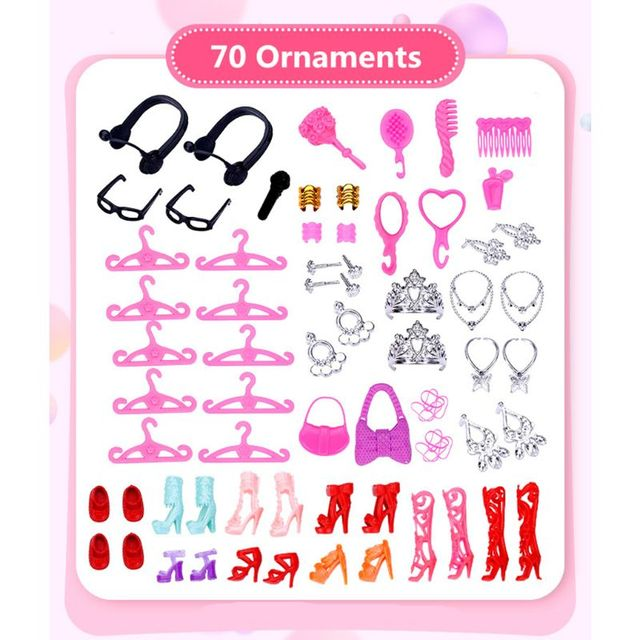 94pcs Doll Furniture Pretend Play Toy Sofa Shoes Jewelry For Doll Brabie Kelly Doll House Accessories Girl Present  Wholesale 4