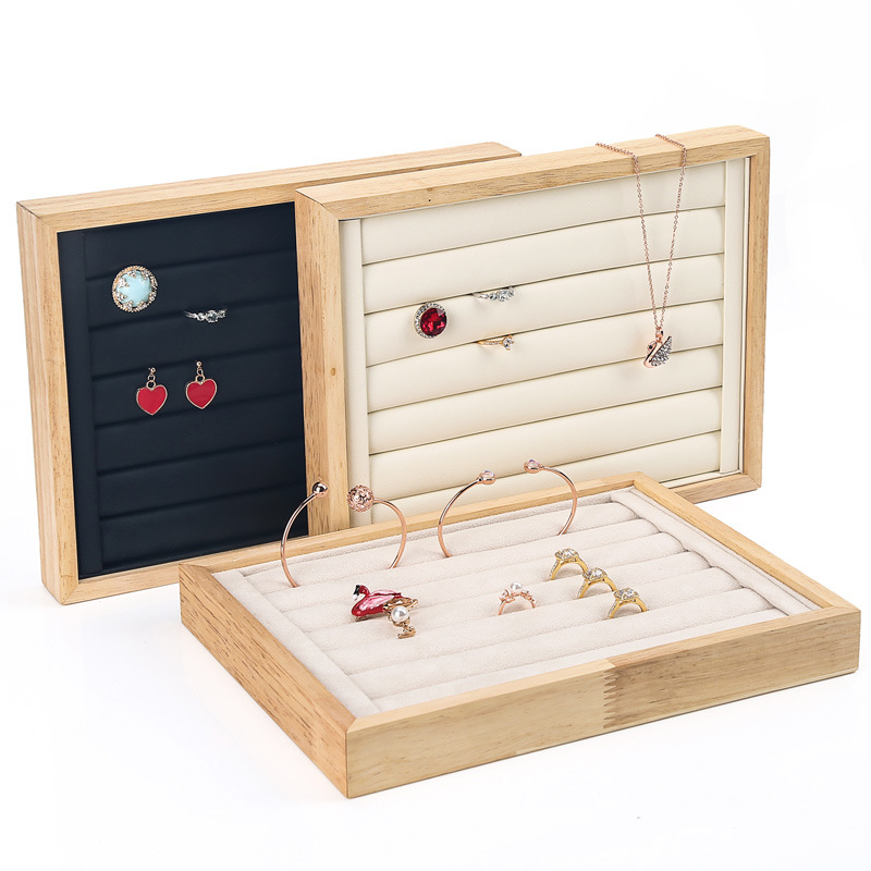 New Wood Ring Earring Tray Display Jewelry Organizer Ring Ear Stud Case Jewelry Storage Showcase Jewelry Tray Organizer