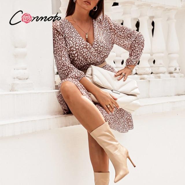 Conmoto High waist polka dot women dress Elegant V-neck Long Puff sleeve spring mini dress Casual holiday style A-line dress new 5